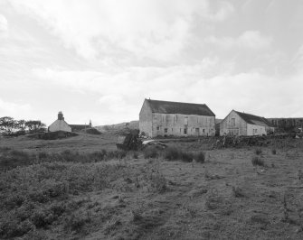 Distant view from E showing farm house, bank barn and former black house