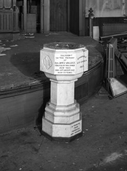 Glasgow, 70 Peel Street, City Temple Church, interior View of font, inscribed with dedication to Rev. James Wallace from members and friends of church 1929.