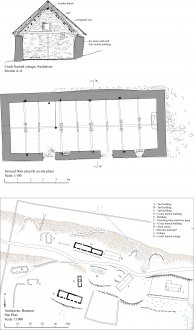 RCAHMS Illustration. Ground floor plan and Section of cruck framed cottage, Auchtavan (K on site plan) and site plan at 1:1000. 400 dpi copy of Illustrator file GV006035.
