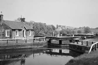 View of Wyndford Lock and the lock-keeper's cottage, Forth and Clyde Canal