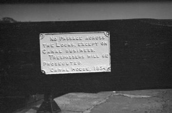 Detail of sign dated 1854 regarding trespassing, Wyndford Lock, Forth and Clyde Canal
