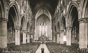 Edinburgh, Palmerston Place, St. Mary's Episcopal Cathedral. 'St Mary's Cathedral, Edinburgh' (Postcard). Interior view.