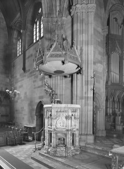 Interior. View of pulpit from SE.