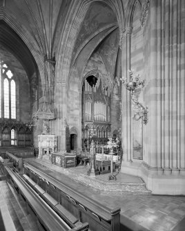Interior. View of chancel arch and pulpit from SE.