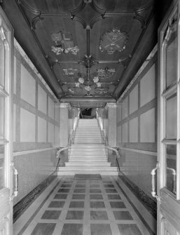 Interior view of Trinity Hall, Union Street, Aberdeen, showing stairs to main entrance hall from Union Street.