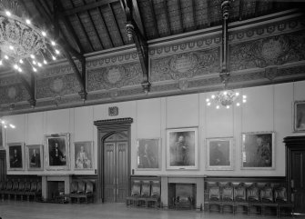 Interior view of Trinity Hall, Union Street, Aberdeen, showing portrait wall in large hall.