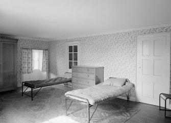 Interior view of Westhall House showing bedroom.