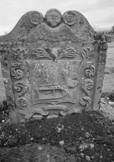 View of gravestone commemorating Amelia Paterson, d.1761, in the churchyard of Kinfauns Old Parish Church.