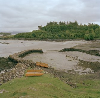 Eigg, Galmisdale Bay, Clanranald Harbour. View of harbour and fishtraps from NE.