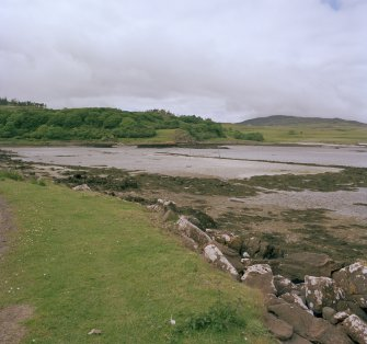 Eigg, Galmisdale Bay, Clanranald Harbour. View of fishtraps and harbour from S.