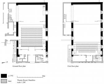 Dumfries, Theatre Royal: copy of GV006272 showing phased ground and first floor plans