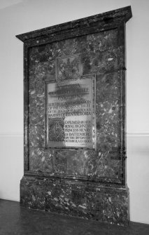 Interior. View of memorial plaque celebrating the opening of the Victoria Diamond Jubilee Pavilion.