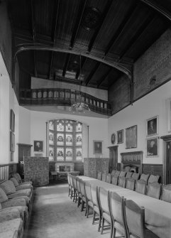 Aberdeen, 151-155 Union Street, Trinity Hall, interior View of minor hall including staned glass window and balcony.
