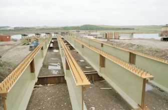 Newburgh, New Waterside Bridge Frame 12: General view of fabricated main beams, prior to assembly of bridge.