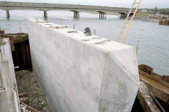 Newburgh, New Waterside Bridge Frame 16: Detailed view of concrete piers, prior to assembly of bridge.