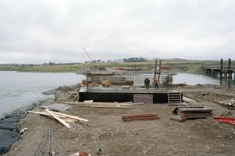 Newburgh, New Waterside Bridge Frame 21: General view of concrete piers, prior to assembly of bridge.
