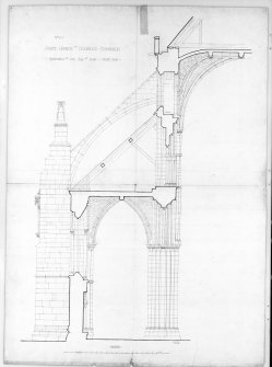 "Restoration of One Bay of North Side of Nave in Holyrood Abbey. Signed and Dated ""J. Forbes Smith.  May 1896"""