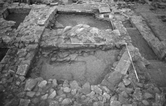 Jedburgh Abbey excavation archive Frame 9: Area 3: Trench S and T: General view. From N.