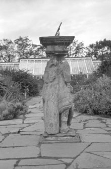 View of sundial in walled garden, Cullen House.
