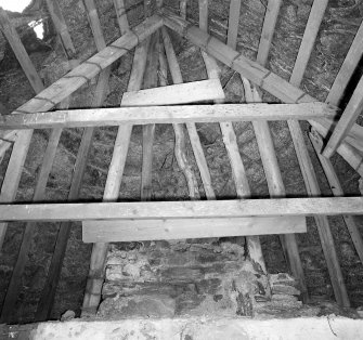 Interior: Thatched house, detail of roof at W gable