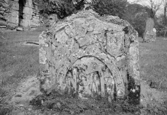 View of gravestone for Patrick Davidson dated 1786, in the churchyard of Cambusmichael Church.