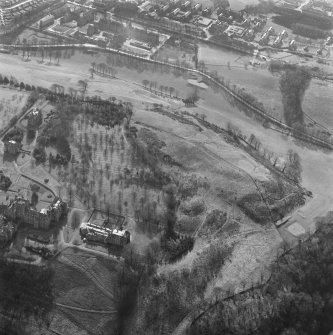 Oblique aerial view of Easter Craiglockhart Hill and New Craig House, Edinburgh.
