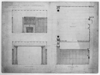Torrisdale Castle Elevation of fireplace end; Elevation of opening; Plan; and Elevation of wall opposite window -hall of Torrisdale Castle Signed and Dated 'H E Clifford, FRIBA. 225 St Vincent Street, Glasgow Nov. 1908'