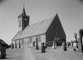 View of St Adrian's Parish Church and churchyard, Anstruther Easter, from S.