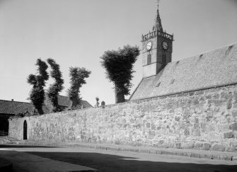 View of St Adrian's Parish Church and churchyard wall, Anstruther Easter, from S.