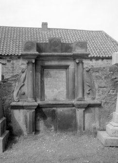 View of monument in churchyard, St Adrian's Parish Church, Anstruther Easter.