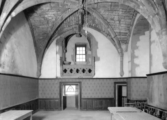 Interior view of Towie Barclay Castle showing Piper's Gallery in Great Hall.