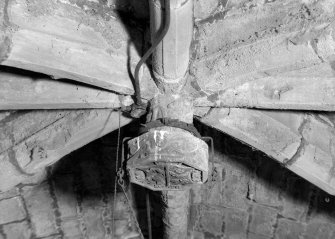 Interior view of Towie Barclay Castle showing detail of carved boss in Great Hall.