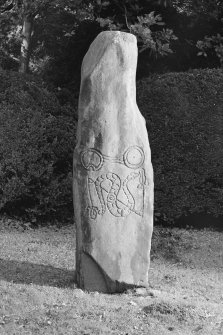 View of Newton House Pictish symbol stone incised with a double disc over a serpent and z-rod.