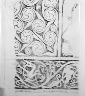 Photographic copy of one of Ian G Scott's drawings of the Hilton of Cadboll cross-slab.