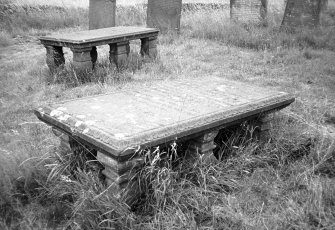 View of two table tombs, one dated 1753.