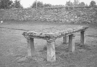 Findo Gask Churchyard. General view of table tomb.