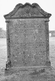 Findo Gask Churchyard. General view of tombstone commemorating David Syme, 1834.