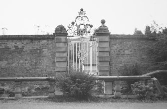 Kinfauns Castle, Walled Garden. View of iron-work gates to walled garden.