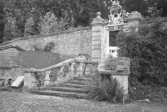 Kinfauns Castle, Walled Garden. View of iron-work gates and steps to walled garden.