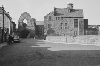 View of Abbot's House and pend, Arbroath Abbey, from S.