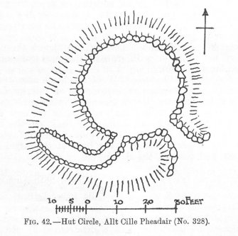 Publication drawing; plan of 'Hut Circle, Allt Cille Pheadair'.