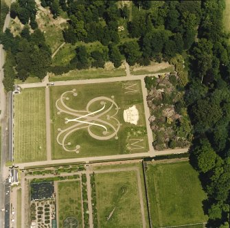 Oblique aerial view centred on the formal garden, taken from the SW.
