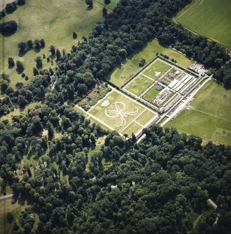 Oblique aerial view centred on the formal garden, taken from the N.