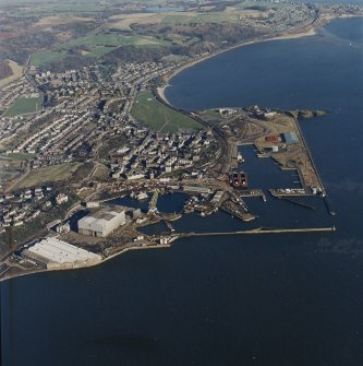 Oblique aerial view centred on Burntisland Harbour, taken from the WSW.