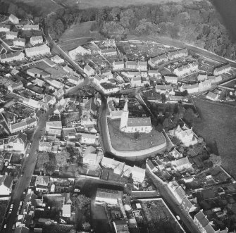 Aerial view from South of St Drostan's Parish Church and its environs.