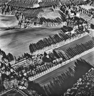 Aboyne, Aboyne Castle, Mains of Aboyne, West Lodge, Garden House. Oblique aerial view.