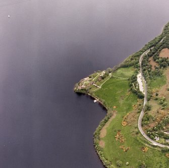 Urquhart Castle, oblique aerial view, taken from the NW.
