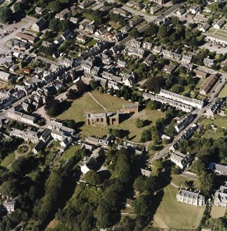 Oblique aerial view of Fortrose centred on the cathedral and court house, taken from the S.