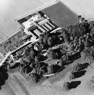 Oblique aerial view centred on the castle, steading and farmhouse, taken from the S.