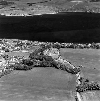Aerial view of part of Cromarty town with The Paye, Gaelic Chapel, from the SW.